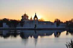 The monastery at sunset. Ipatiev monastery at sunset. The city of Kostroma stock photography