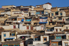 Monastery in  Tibet. Monks' dorms  of Gedan Songzanlin Lamaist Temple in Shangrila,Yunnan province Royalty Free Stock Images