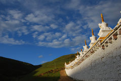Monastery in  Tibet. A view of  Letong Lamaist Temple in Letong,Sichuan province Royalty Free Stock Photos