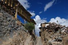 Monastery in  Tibet. Worship  way around Tashilunpul   Monastery  in  Shigatse, Tibet Royalty Free Stock Photos