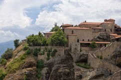 Monastery on top of a cliff in Meteora, Greece Royalty Free Stock Images