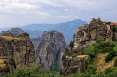 Monastery on top of a cliff in Meteora, Greece Royalty Free Stock Photos