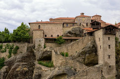Monastery on top of a cliff in Meteora, Greece Royalty Free Stock Photography