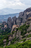 Monastery on top of a cliff in Meteora, Greece Stock Photos