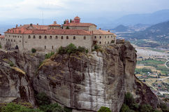 Monastery on top of a cliff in Meteora, Greece Stock Image