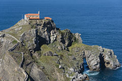 Monastery on top of a cliff at San Juan de Gaztelugatxe, Basque Royalty Free Stock Image