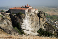 Monastery on top rock Meteora Stock Photography