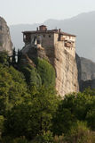 Monastery on top rock Meteora Stock Photo