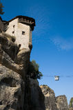 Monastery on top rock Meteora Royalty Free Stock Photo