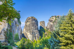 Monastery on top of a rock in Meteora, Greece Royalty Free Stock Photo