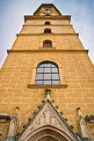 Monastery tower. Ancient Franciscan monastery high tower architectural details in Graz, Austria Royalty Free Stock Photos