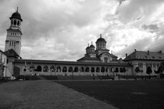 Monastery. A trip to Romania, visiting ancient sites, sunny day, monument, church towers, a little overcast, great view Royalty Free Stock Photos