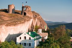 Monastery under the mountain. In the Crimea Stock Photo