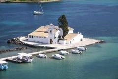 Monastery of Vlaherna on the mouse island. Corfu Royalty Free Stock Image