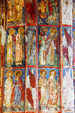 The Monastery Voronet. Details of painted exterior walls. Royalty Free Stock Photography