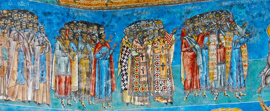 The Monastery Voronet. Details of painted exterior walls. Dominant color is well known blue of Voronet Royalty Free Stock Photo