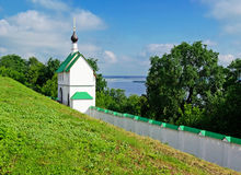 Monastery wall and gate. Walls in Murom Saviour Monastery, Central Russia Royalty Free Stock Photography