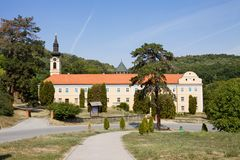 The orthodox monastery Novo Hopovo New Hopovo in Serbia. The monastery was built in the 18th century. It is located in the northern Serbia, in the province of royalty free stock image