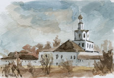 Monastery. Watercolor. View of St. Andronik Monastery. Moscow, Russia. Watercolor stock illustration