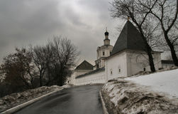 Monastery in winter. Monastery in Moscow. Andrey Rublev museum royalty free stock photography