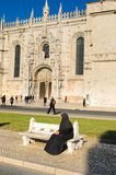 Monastery and woman royalty free stock photography