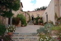 Monastery yard, Greece Stock Photo