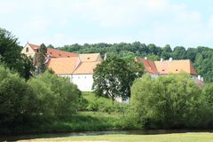 Monastery Zlata koruna. Behind river Vltava and trees, Czech Republic Stock Photography