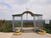 Monastic arbor. Openwork arbor in the territory of Orthodox church Royalty Free Stock Photos