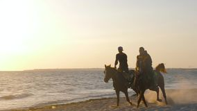 Monastir, Tunisia - 08 June 2018: two riders on horse galloping on morning beach on background golden sunrise. Horse