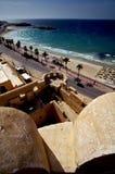 monastir Tunisie de panoramas le vieux mediter de fente de château de mur Image libre de droits