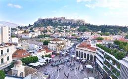 Monastiraki广场和上城视图雅典希腊 库存照片