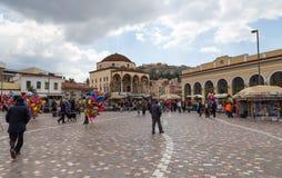Monastiraki kvadrerar, Athens, Grekland Arkivfoton