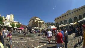 Monastiraki τετραγωνική, στο κέντρο της πόλης Αθήνα, Ελλάδα απόθεμα βίντεο