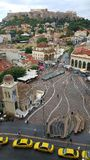Monastiraki dans l'ombre de l'Acropole Image libre de droits