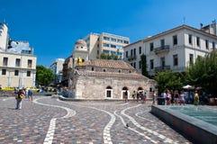 Monastiraki fyrkant på Augusti 4, 2013 i Aten, Grekland. Royaltyfria Foton