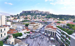 Monastiraki square and Acropolis view Athens Greece Stock Photo