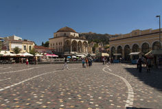 Monastiraki square in Athens photo, Greece. Flea market neighborhood in the old town of Athens and one principal shopping district Royalty Free Stock Photos