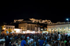 Monastiraki Square at the night on August 4, 2013 in Athens, Greece. Stock Photography
