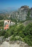 Monastério da rocha de Roussanou, Meteora, Greece, Balcãs Fotografia de Stock