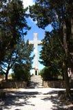 Monastry des bâtiments historiques d'architecture de Rhodos Grèce de filerimos Images libres de droits