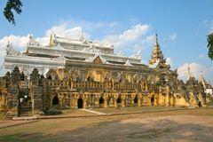 Monastry Maha Aungmye Bonzan in Ava, Myanmar Royalty-vrije Stock Foto's