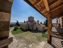 Monastry na cidade antiga de Apollonia em Albânia fotografia de stock royalty free