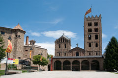 Monastry of Santa Maria. Of Ripoll in Catalonia Spain with Catalunya flag Royalty Free Stock Image
