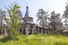 Monastyrskyeiland, Valaam Kapel van alle Valaam-heiligen stock fotografie
