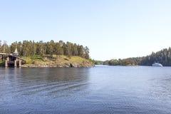 Monastyrskyeiland, Valaam Kapel van Alle Valaam-Heiligen royalty-vrije stock foto's