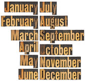 Monat im Hhhochhdruckholztypen Lizenzfreie Stockfotos