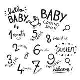 1-9 Monate Babywortsatz-Illustration stock abbildung