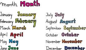 Monate des Jahres lizenzfreie abbildung