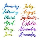 Monate des Jahres eigenhändig Hand gezeichnete kreative Kalligraphie stock abbildung