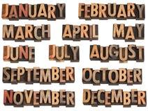 Monate im Hhhochhdrucktypen Stockfotos